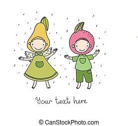 lindo, pear., caricatura, manzana