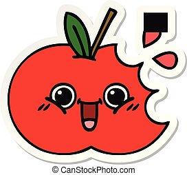 lindo, pegatina, manzana, rojo, caricatura