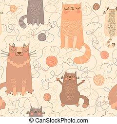 lindo, pelotas, patrón, seamless, gatos, yarn.