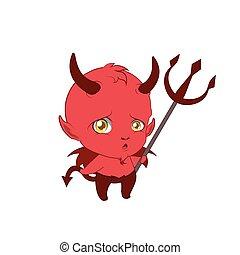lindo, pequeño diablo, diciendo haciendo pucheros