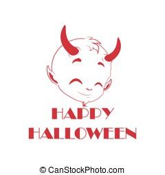 lindo, pequeño diablo, halloween, -, decoración, calcomanías...