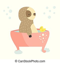 lindo, perezoso, bath., diseño, animal, teniendo