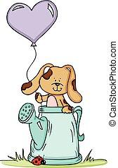 lindo, perro, en, regadera, con, globo