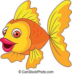 lindo, pez, caricatura, dorado