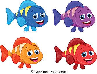 lindo, pez, conjunto, caricatura, colección
