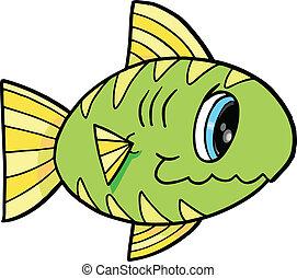 lindo, pez, vector