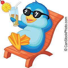lindo, pingüino, bea, caricatura, sentado