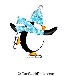 lindo, pingüino, hielo, ilustración, patines