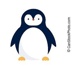 lindo, pingüino, icono