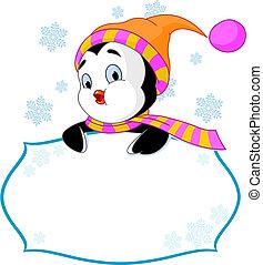 lindo, pingüino, invitar, y, tarjeta de lugar