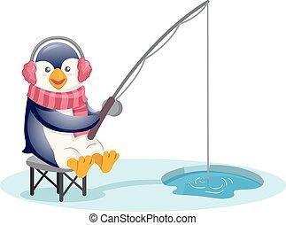 lindo, pingüino, pesca, Orejeras