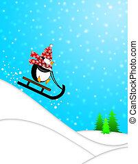 lindo, pingüino, trineo, ilustración, cuesta abajo