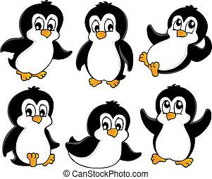 lindo, pingüinos, colección, 1