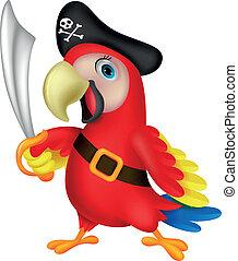lindo, pirata, loro, caricatura