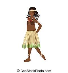 lindo, planta, aborigen, labios, africano, niña, falda, rojo