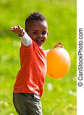 lindo, poco, al aire libre, gente, globo, niño, -, joven,...