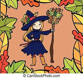 lindo, poco, bruja, con, un, broom.