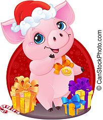 lindo, poco, cerdito, regalos, año, nuevo, 2019., navidad