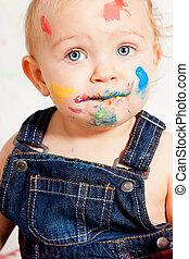 lindo, poco, colorido, creativo, bebé, pequeñín