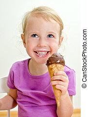 lindo, poco, comida, hielo, niña, crema