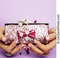 lindo, poco, concepto, estilo de vida, joyas, manos,...