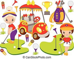 lindo, poco, conjunto, golf, niñas, accesorios, vector,...