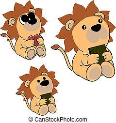 lindo, poco, conjunto, león, bebé, encantador, caricatura