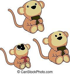 lindo, poco, conjunto, mono, bebé, encantador, caricatura