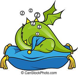 lindo, poco, dragón, almohada, sueño