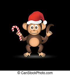 lindo, poco, eps10, mono, chimpancé, santa sombrero