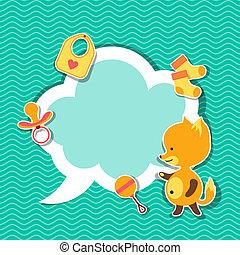 lindo, poco, fox., marco de la foto, plano de fondo, bebé