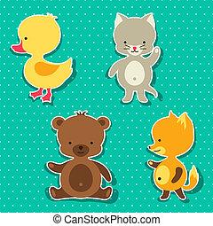lindo, poco, gato, pato, zorro, oso, bebé, stickers.