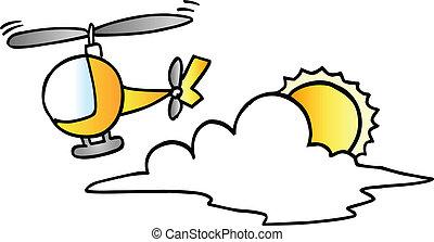 lindo, poco, helicóptero, vector