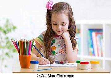 lindo, poco, hogar, niño, preschooler, dibujo