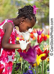 lindo, poco, jardín, norteamericano, africano, niña, juego