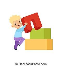 lindo, poco, juguete bloquea, buiding, niño, ilustración, vector, plano de fondo, blanco, juego