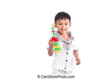 lindo, poco, juguete, niño, juego, plástico, feliz