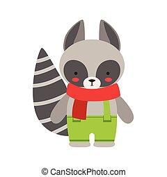 lindo, poco, juguete, niño, vestido, mapache, bufanda verde, animal, bebé, pantalones rojos