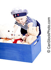 lindo, poco, Moda, marinero, bebé, juego