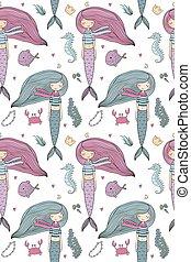 lindo, poco, patrón, mermaid., theme., mar, siren.