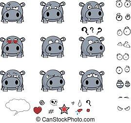 lindo, poco, pelota, hipopótamo, conjunto, expresiones