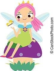 lindo, poco, sentado, duende, vuelo, carácter, mushroom., duendecillo, hada, hada, caricatura