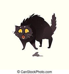 lindo, poco, velloso, gato gordo, ratón negro, espantado