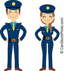 lindo, policía, agentes