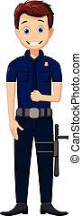 lindo, policía, caricatura, posar