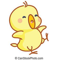 lindo, posar, caricatura, polluelos