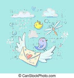 lindo, postal, aves, y, entrega, elementos, set., caricatura, conjunto, de, postal, pájaro, vector, objetos, para, tela, y, impresiones