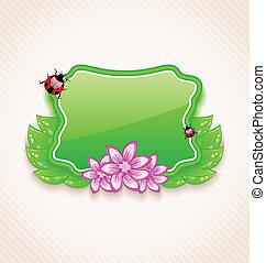 lindo, primavera, tarjeta, con, flor, hojas, lady-beetle