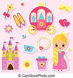 lindo, princesa, muñeca de papel, y, cuentos de hadas, accesorios, pegatinas, set., para, fiesta, invitaciones, álbum de recortes, móvil, juegos