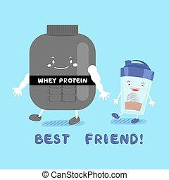 lindo, proteína, whey, caricatura